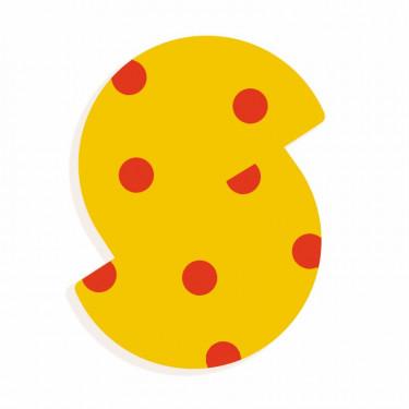 Lettre S en bois DJECO Animaux graphiques / jaune