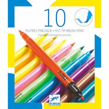 10 feutres pinceaux couleurs pop DJECO 8799
