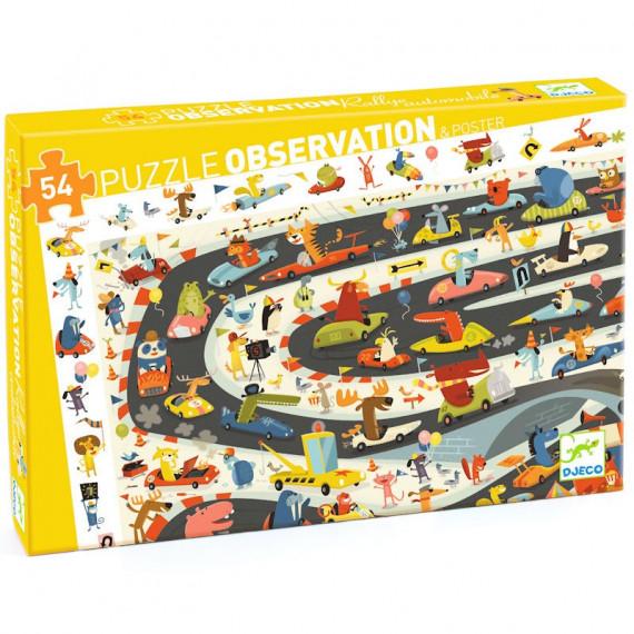 Rallye automobile, puzzle observation 54 pcs DJECO 7564
