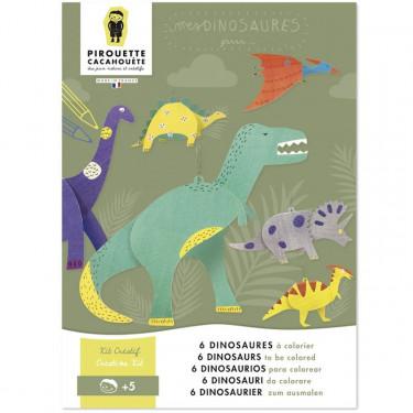 6 dinosaures à colorier, kit créatif pour enfant Pirouette Cacahouète
