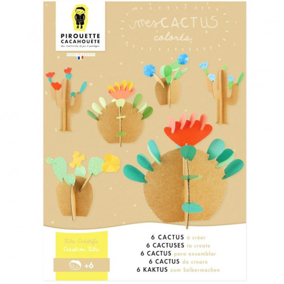 6 cactus à créer, kit créatif pour enfant Pirouette Cacahouète