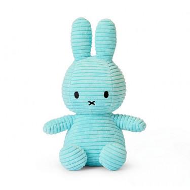 Peluche Miffy en velours côtelé bleu pastel 24cm