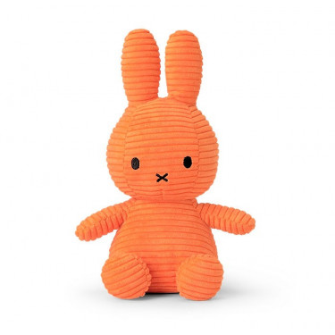 Peluche Miffy en velours côtelé orange fluo 24cm