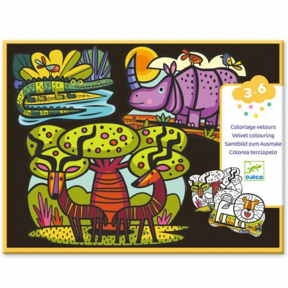 "Coloriage velours ""Animaux de la savane"" DJECO 9622"