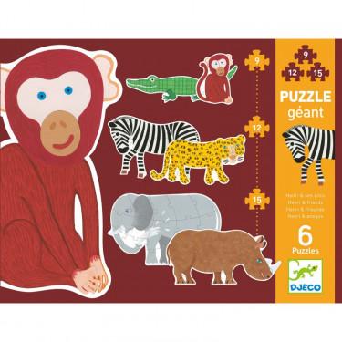 Puzzle géant 'Henri & ses amis' 9, 12 et 15 pcs DJECO 7147