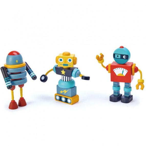Jeu de construction de robots en bois, tender leaf toys