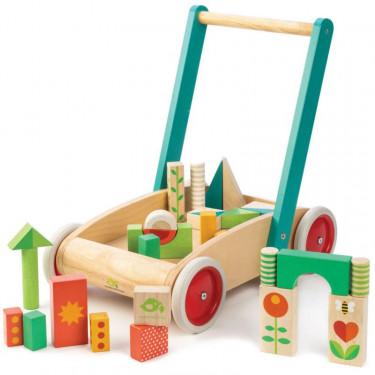 Chariot de marche avec cubes en bois, tender leaf toys