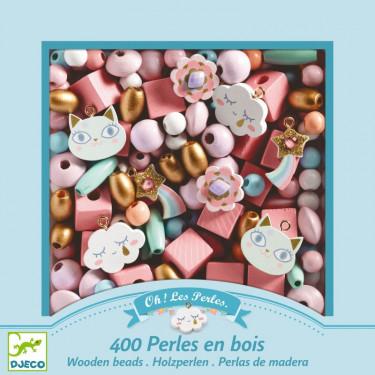 """400 Perles en bois """"Arc-en-ciel"""" DJECO 9823"""