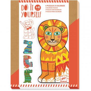 """4 puzzles à colorier """"Animocolor"""" DIY DJECO 7946"""