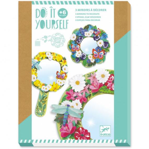 """3 miroirs à décorer """"Douceur florale"""" DIY DJECO 7908"""