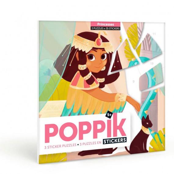 """3 puzzles en stickers """"Princesses"""" Poppik"""