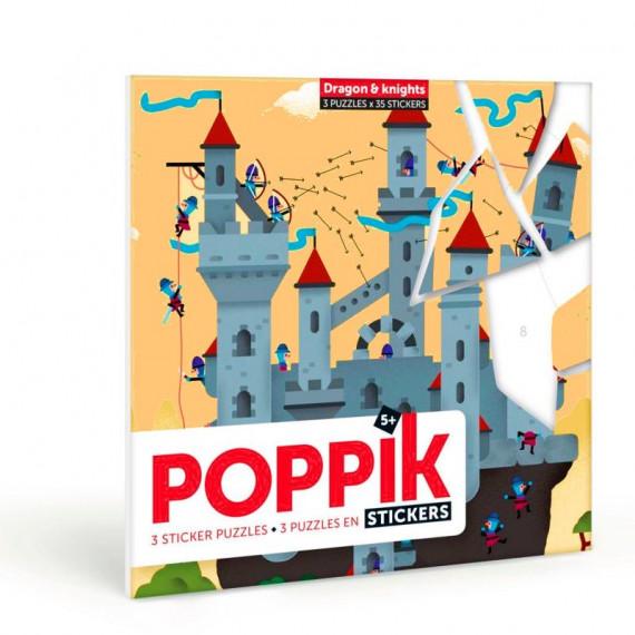 """3 puzzles en stickers """"Dragon et chevaliers"""" Poppik"""