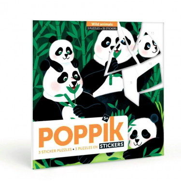 """3 puzzles en stickers """"Animaux sauvages"""" Poppik"""