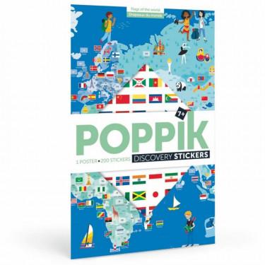 """Poster en stickers """"Drapeaux du monde"""" Poppik"""