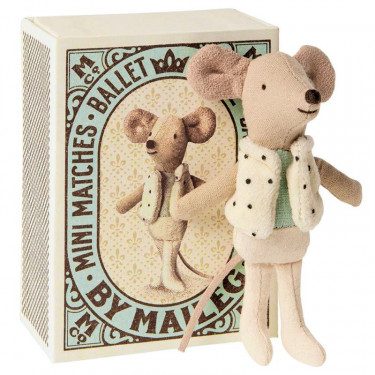 Petite souris danseur dans sa boîte Maileg