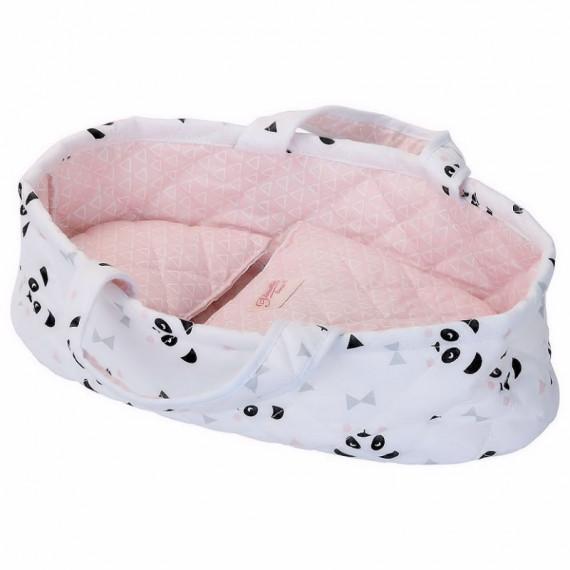 """Couffin en tissu """"panda"""" pour poupée de 25 à 28 cm Petitcollin"""
