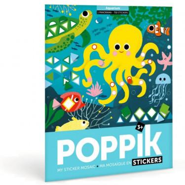 """Poster mosaïque avec des gommettes """"Aquarium"""" Poppik"""