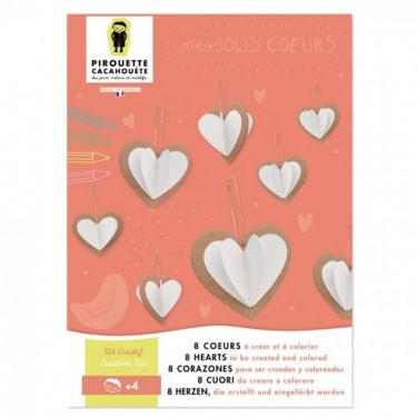 8 coeurs à créer et à colorier, kit créatif pour enfant Pirouette Cacahouète