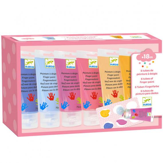 """6 tubes de peinture à doigts pour enfant - couleurs """"sweet"""" DJECO 9000"""