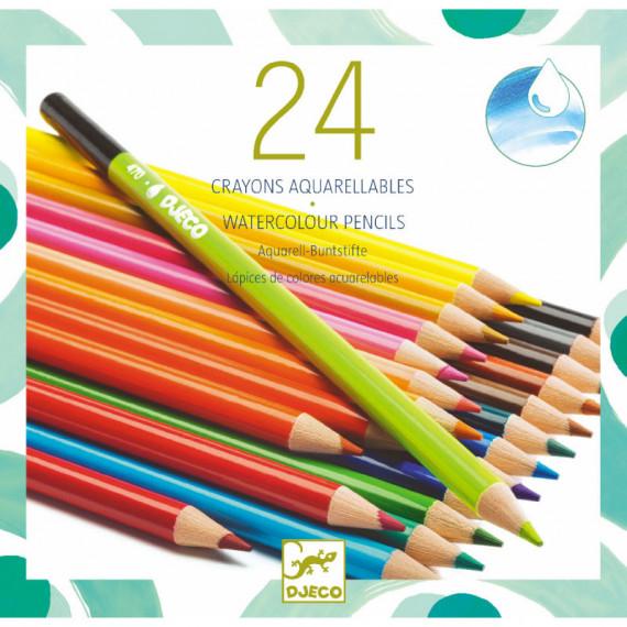 24 crayons de couleur aquarellables DJECO 9754