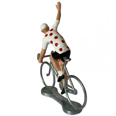 Figurine cycliste winner maillot blanc pois rouge _ Bernard & Eddy