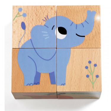 4 cubes puzzles en bois Wild & Co, DJECO 1904