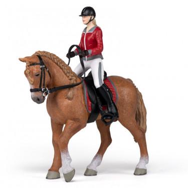 Cheval de promenade et sa cavalière, figurine PAPO 51564