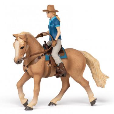 Cheval western et sa cavalière, figurine PAPO 51566
