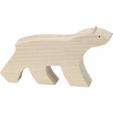 """Figurine d'animal en bois """"Ours blanc"""" de Pompon, VILAC 9103A"""