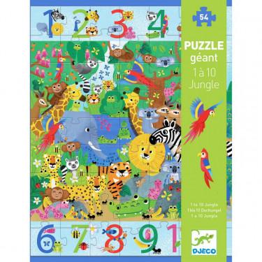 """Puzzle géant """"1 à 10 Jungle"""" 54 pcs DJECO 7148"""