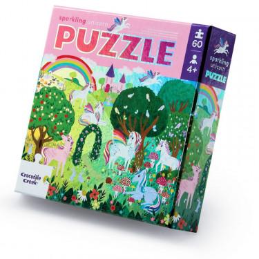 """Puzzle métallisé """"Licornes"""" 60 pcs CROCODILE CREEK"""