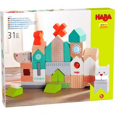 """Blocs de construction en bois """"Chien et chat"""" HABA 306086"""