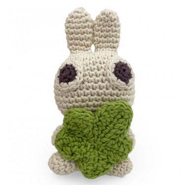 """""""Pinpin le lapin"""" hochet pour bébé en crochet en coton bio The veggy toys"""
