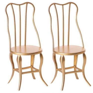 Ensemble de 2 chaises vintage dorées pour souris Maileg