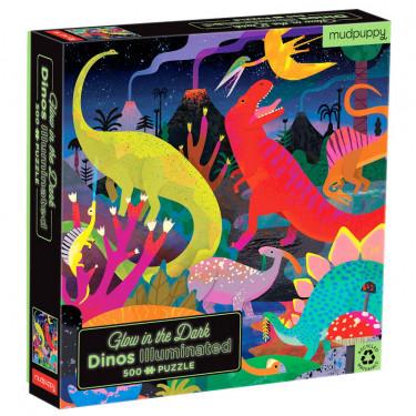 """Puzzle qui Brille dans le Noir """"Dinosaures"""" 500 pcs Mudpuppy"""