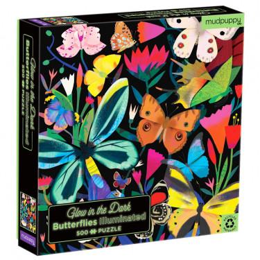 """Puzzle qui Brille dans le Noir """"Papillons"""" 500 pcs Mudpuppy"""