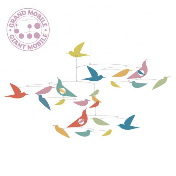 """Mobile en papier """"Des oiseaux multicolores"""" DJECO 4375 Collection Katsumi Komagata"""