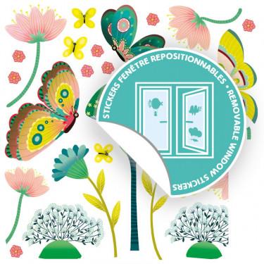 Stickers de fenêtre repositionnables 'Papillons au jardin' DJECO 5051