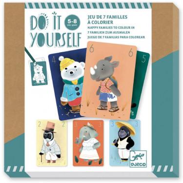 """Jeu de 7 familles à colorier """"Chics animaux"""" DIY DJECO 7947"""