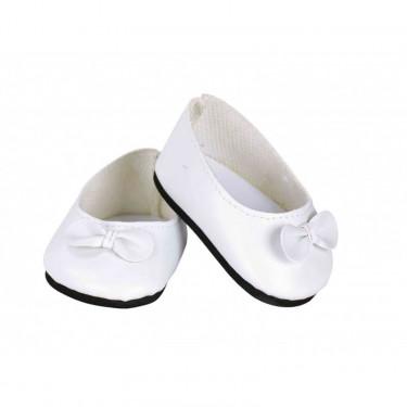 Ballerines blanches avec noeud pour poupées de 39 à 48 cm Petitcollin