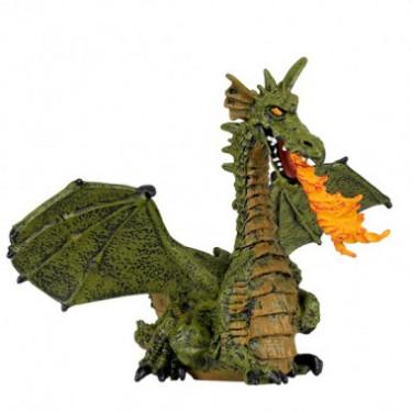 Dragon ailé vert avec flamme, figurine PAPO 39025