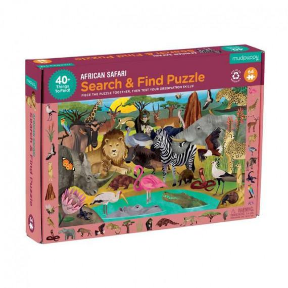 Puzzle 'Cherche & Trouve' Safari africain 64 pcs Mudpuppy