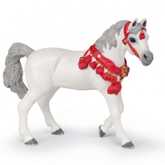 Cheval arabe blanc en tenue de parade, PAPO 51568
