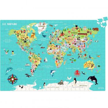 Puzzle carte du monde 500 pcs Ingela P. Arrhenius VILAC 7619