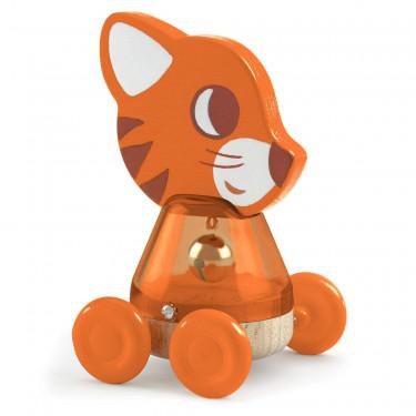Nina Bing, chat à roulettes, jouet à pousser DJECO 6444