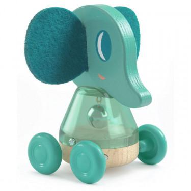 Billie Bing, éléphant à roulettes, jouet à pousser DJECO 6445