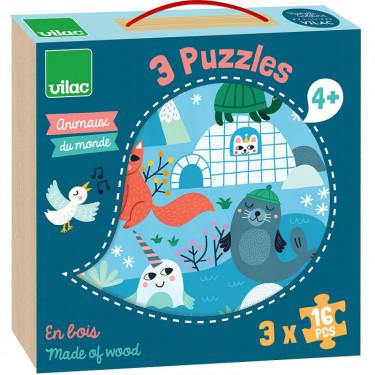 Coffret 3 puzzles en bois 'Animaux du monde' Michelle Carlslund VILAC 8530