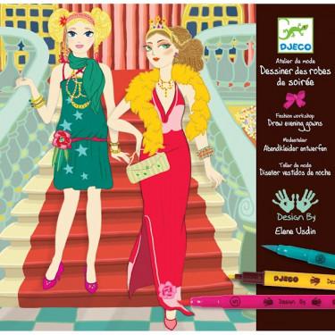 Coffret Dessiner des robes de soirée, Atelier de mode DJECO DJO8732