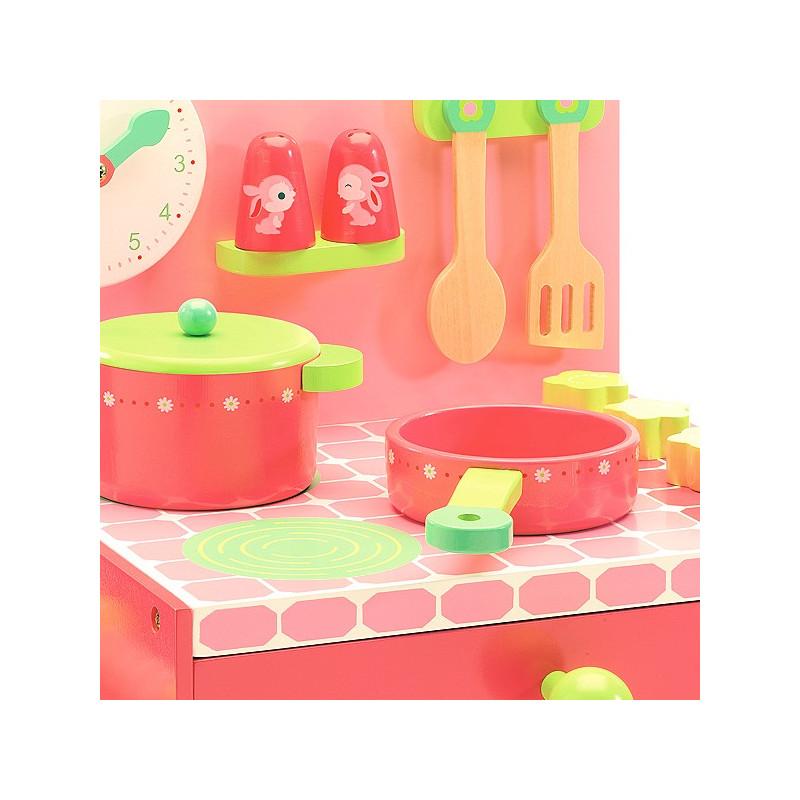 la cuisini re de lili rose djeco djo6508 jouet djeco cuisine en bois. Black Bedroom Furniture Sets. Home Design Ideas