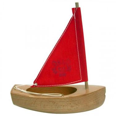 Petit voilier TIROT en bois, voile rouge, modèle 200